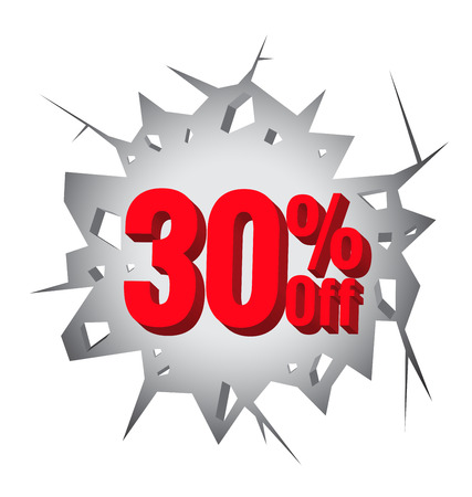 the 30: Sale 30% percent on Hole cracked white wall for promotion