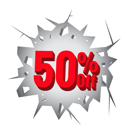 50: Sale 50% percent on Hole cracked white wall for promotion Illustration