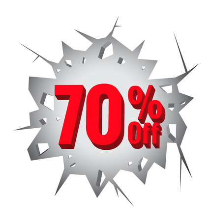 70: Sale 70% percent on Hole cracked white wall for promotion Illustration