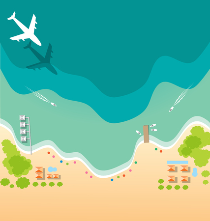 air plane: Air plane and boat paradise tropical beach background for summer concept Illustration