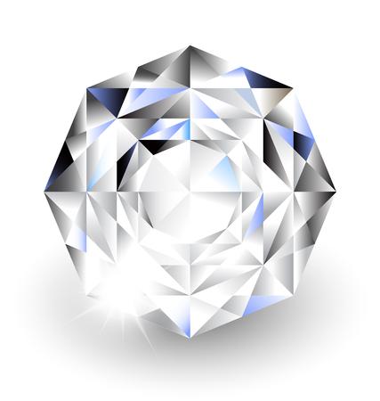 Diamond with sparkle light on White background