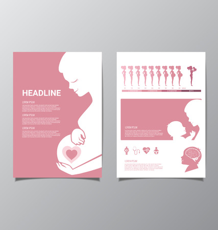 Healthy Pregnant women and baby infographic