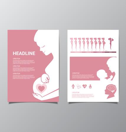 Las mujeres embarazadas sanas y infografía bebé Foto de archivo - 59895889