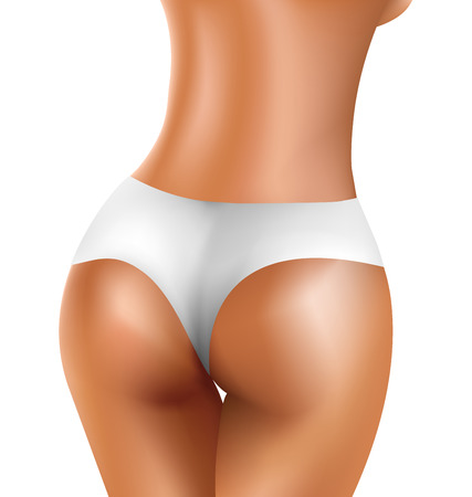 cellulite: Perfect sexy buttock of healthy women in white bikini