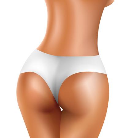 nalga: Perfecta nalga atractiva de las mujeres sanas en bikini blanco