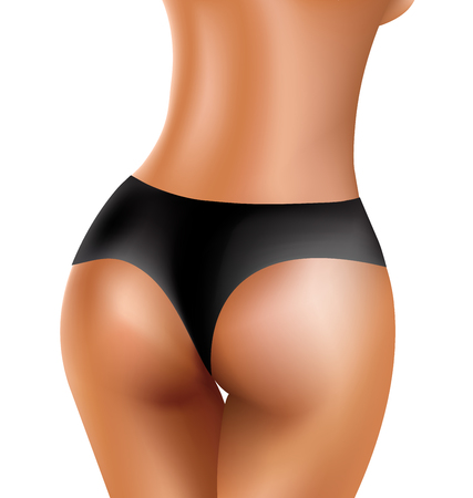 girls in bikini: Perfect sexy buttocks of healthy women in black bikini