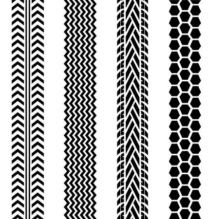 treads: Black tire tracks set on white background for design
