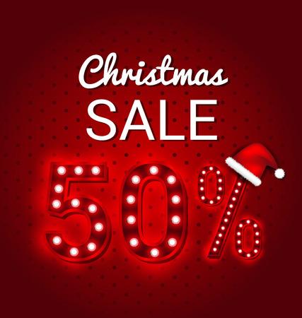 happy christmas: Christmas sale 50 Percent Discount retro sign