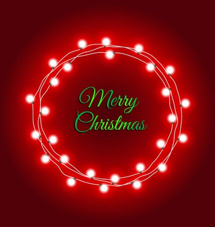 messege: Christmas lights frame with messege on red background