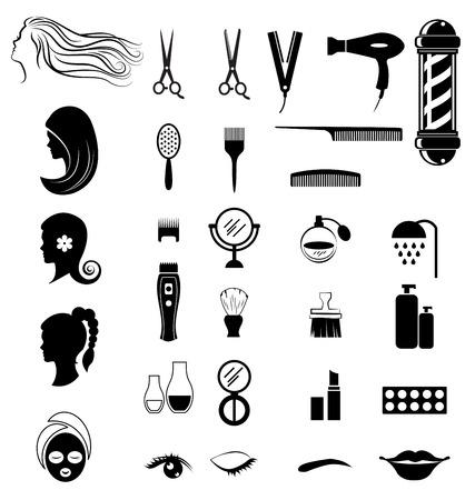 beauty shop: Set of salon shop items for beauty concept on white background Illustration
