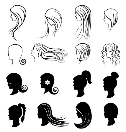 for women: Set of women Hairstyles for beauty concept on white background Illustration