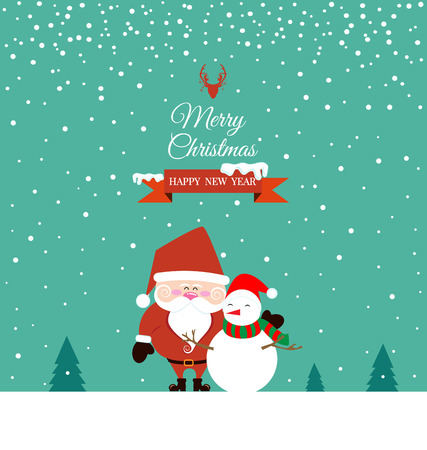 xmas card: Cute Santa Claus and Snowman on christmas day Illustration