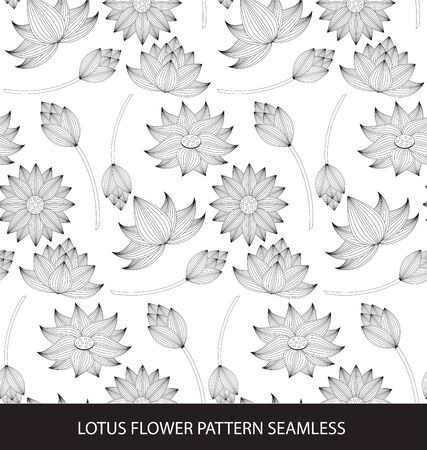 retro pattern: beautiful Lotus flower seamless pattern Illustration