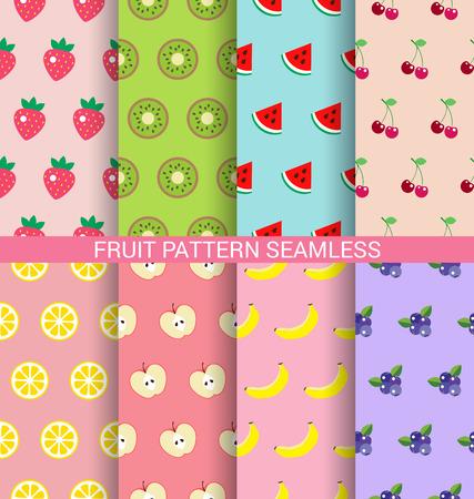 Sweet fruit seamless pattern background set Illustration