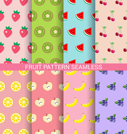 Sweet fruit seamless pattern background set Иллюстрация