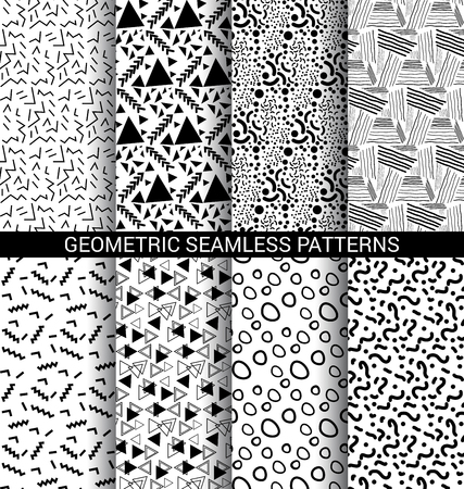 Set of abstract geometric seamless patterns black and white Иллюстрация