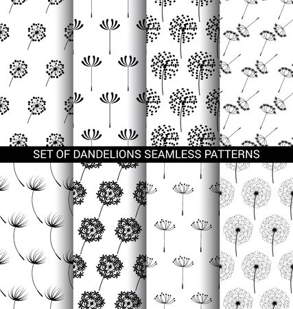 Set of Dandelions seamless patterns black and white
