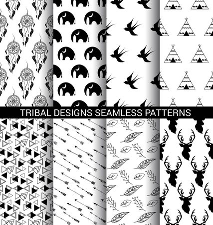 Set of Tribal designs seamless patterns black and white