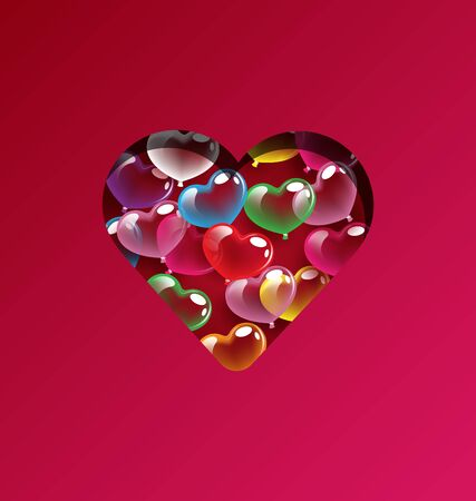 Abstract colorful heart balloons design elements for Valentine day and wedding concept