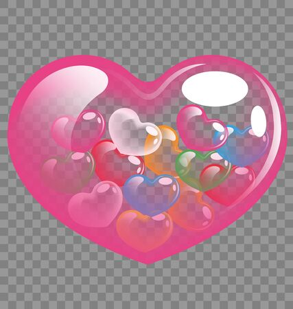 Abstract colorful heart balloons for Valentine day and wedding concept