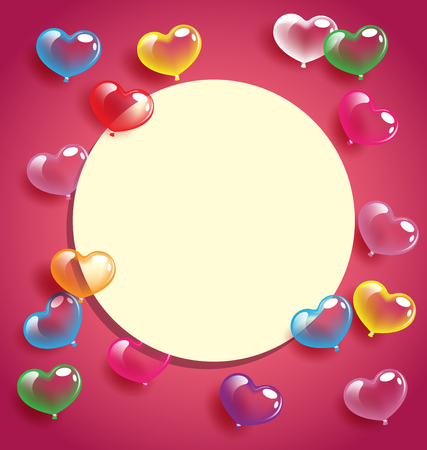 Abstract colorful heart balloons with white card for Valentine day and wedding concept Иллюстрация