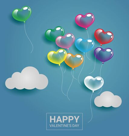Colorful heart balloons with cloud on the sky for Valentine day and wedding concept