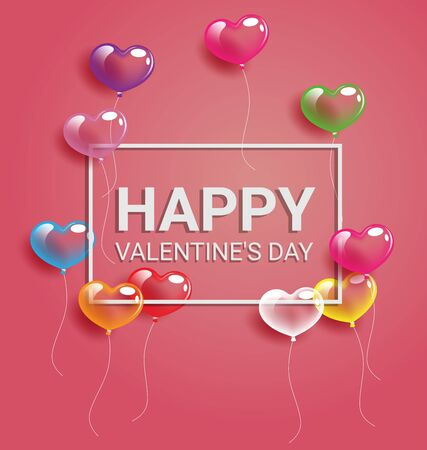 Colorful heart balloons With frame and Happy Valentine day text Иллюстрация