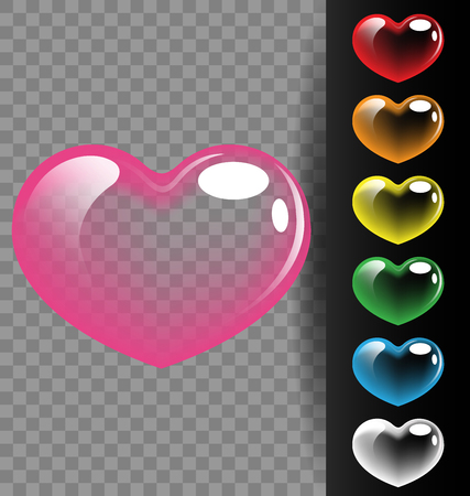 Colorful heart translucent on black background for Valentine day and wedding concept Иллюстрация