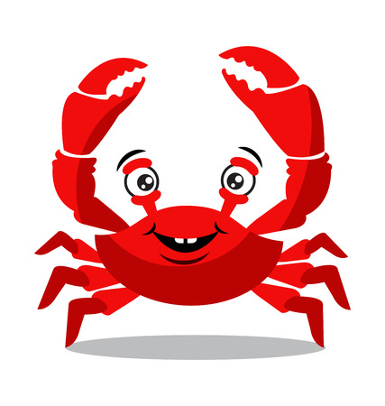 Funny red crab cartoon flat design for food flavor concept