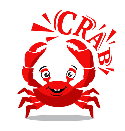 Funny red crab cartoon with text on white background for food flavor concept