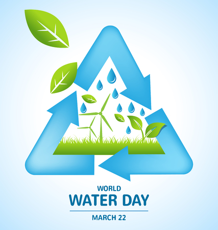Recycle symbol design with Offshore Wind and green leaf for World Water Day