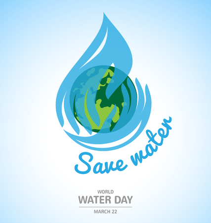 Water drop in hand logo design with earth for World Water Day Vettoriali