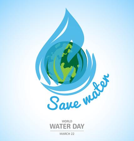 druppel water in de hand logo-ontwerp met aarde voor World Water Day