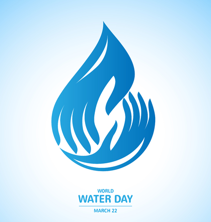 Water drop in hand Logo design for World Water Day