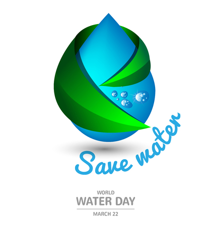 Water drop with ecology green leaf for World Water Day