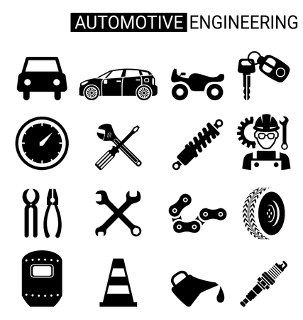 automotive industry: Set of automotive engineering icon design for automotive Industry