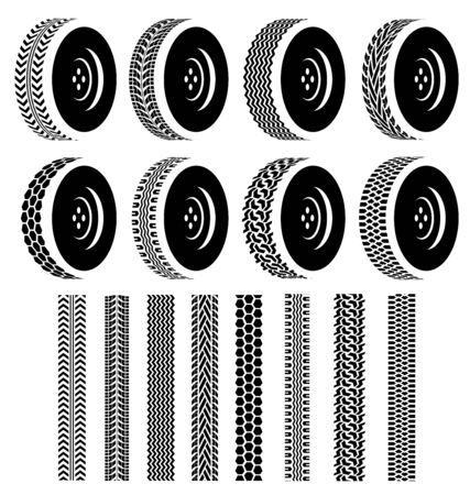 automotive industry: Set of Wheel with black tire tracks for Automotive Industry Illustration