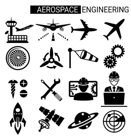 Zestaw inżynierii lotniczej projektowania ikon dla samolotu i lotnictwa.