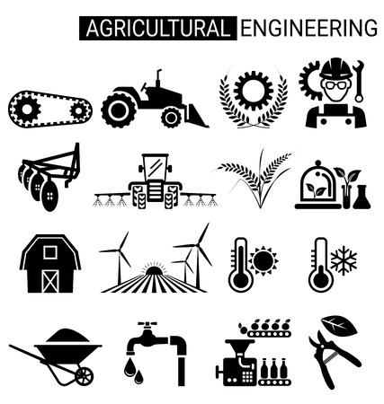 Set of agricultural engineering icon design for agriculture Industrial