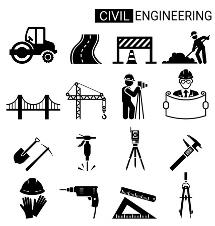 Set of civil engineering icon design for infrastructure construction concept. Иллюстрация