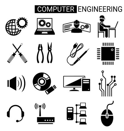 Set of computer engineering icon design for computer technician concept.