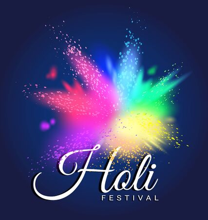 Abstract colorful Gulal for Happy Holi invitation and greeting card.