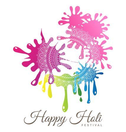 Abstract colorful Happy Holi Festival with Mandala decoration. Иллюстрация