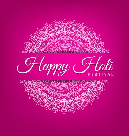 Abstract Mandala decoration for Happy Holi Festival card.