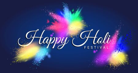 Happy Holi festival test with beautiful colorful Gulal.