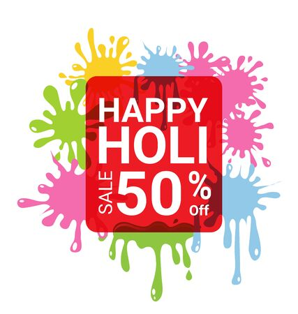 Holi sale 50 percent off for discount promotion.