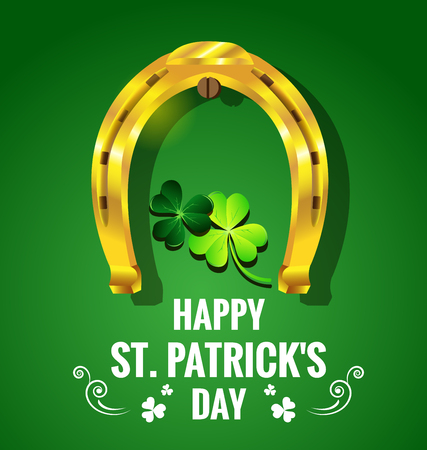 Gold horseshoe with Shamrock for St. Patricks Day card. Иллюстрация