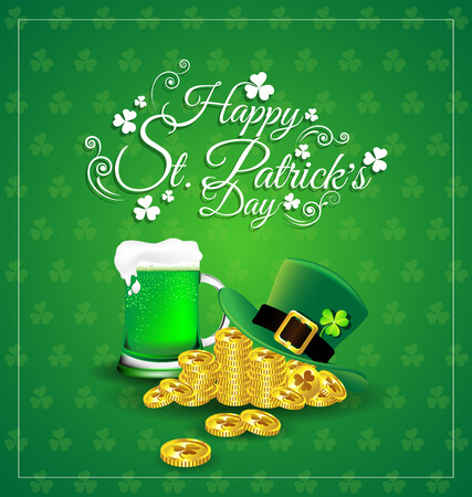 Green beer with hat on gold coin for  St. Patricks Day card. Иллюстрация
