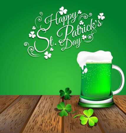 Green beer with Shamrock on wooden floor for St. Patricks Day card.