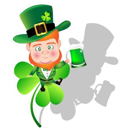 Irish man irish man hold beer on Shamrock leaf for St. Patricks Day card. Иллюстрация